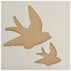 Bird Set of 2 Flying Birds MDF Shape DIY Raw Cut Out Art Craft Decor