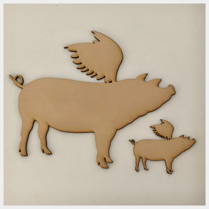 Pig Set of 2 Flying Pigs MDF Shape DIY Raw Cut Out Art Craft Decor - The Renmy Store