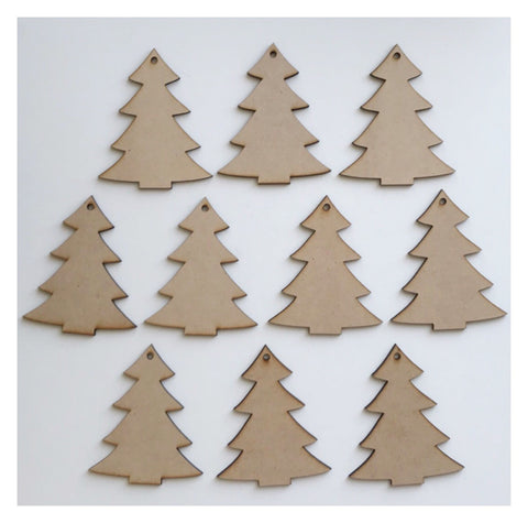 Tag Tags Tree Set of 10 Raw MDF Wooden DIY Craft