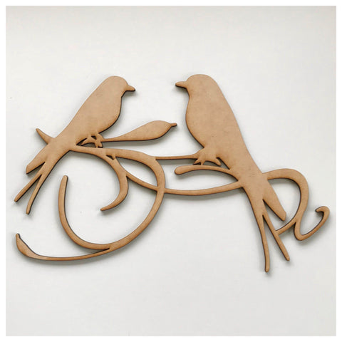 Two Birds Scroll MDF DIY Raw Cut Out Art Craft Decor - The Renmy Store