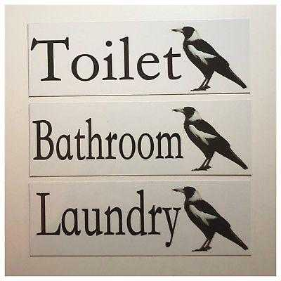 Magpie Bird Toilet Laundry Bathroom Sign - The Renmy Store