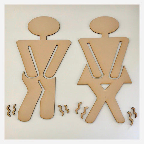 Toilet Male Female DIY Raw MDF Timber - The Renmy Store