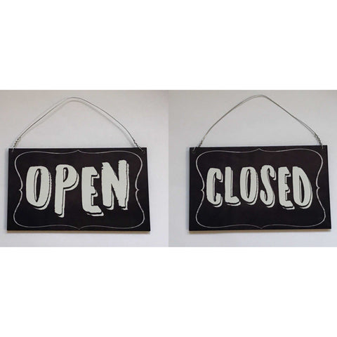 Open Closed Hanging Black Sign - The Renmy Store