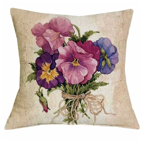 Cushion Pillow Vintage Pansy Flower - The Renmy Store