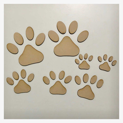 Paw Print Set of 7 Dog DIY Raw MDF Timber