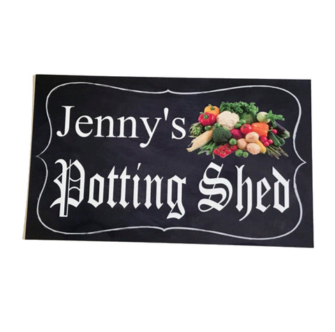 Potting Shed Personalised Custom Name Garden Vegetable Sign