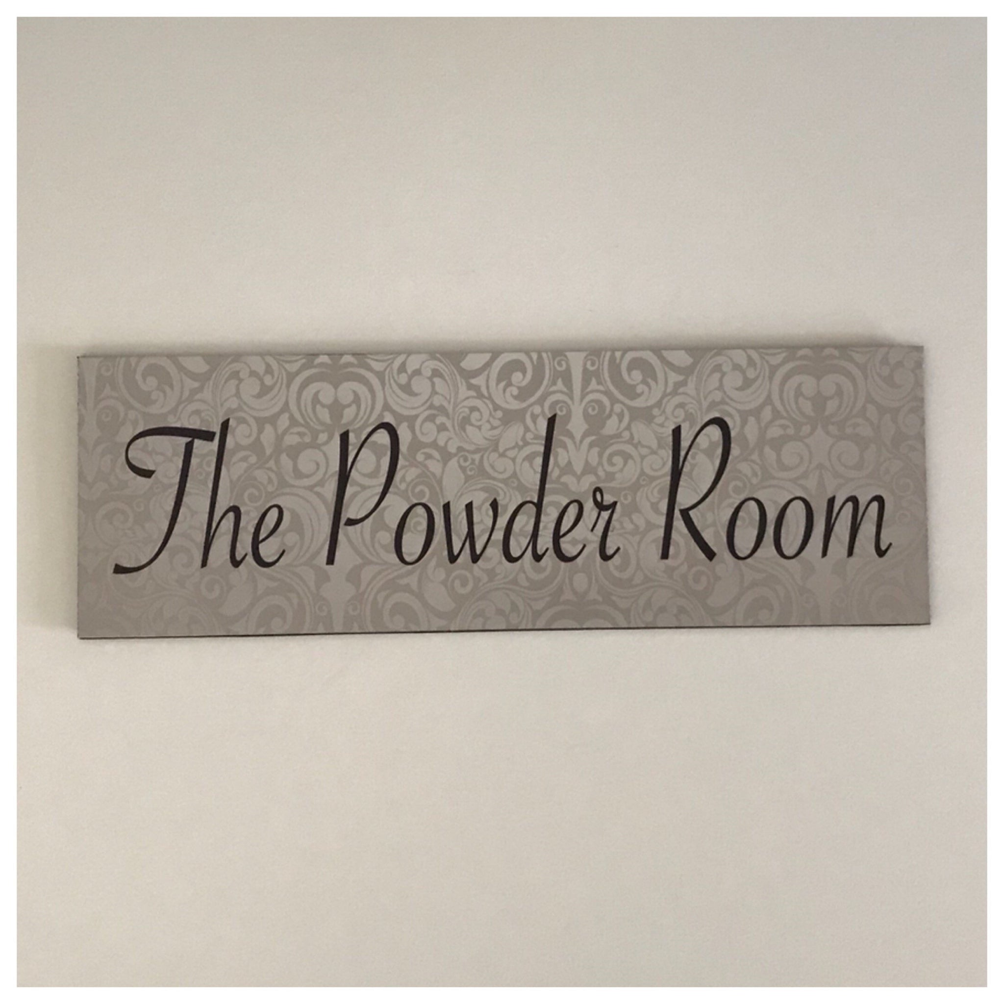 The Powder Room Silver Sign Plaque or Hanging