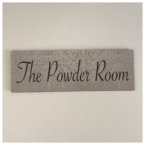 The Powder Room Silver Sign Plaque or Hanging - The Renmy Store