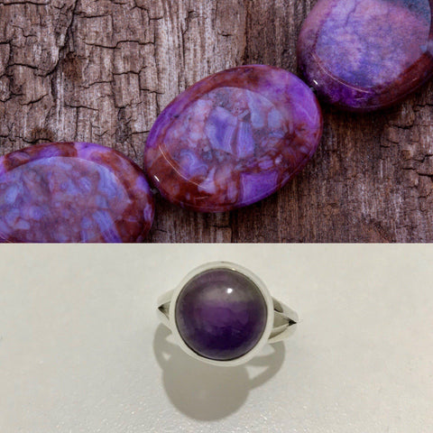 Ring Amethyst Purple Gemstone Round Sterling Silver Size 7