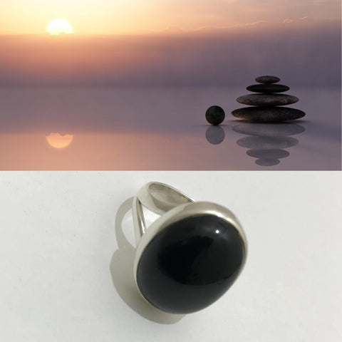 Ring Onyx Black Gemstone Round Sterling Silver Size 9