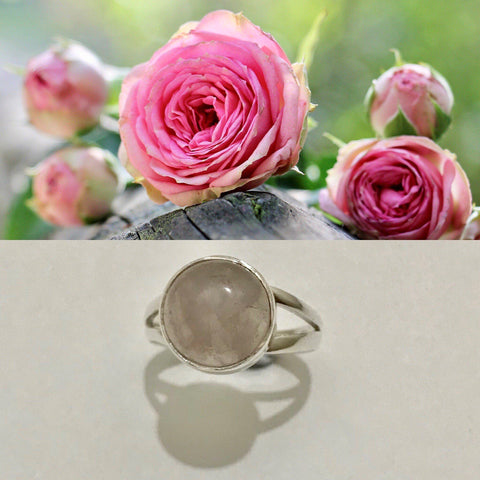 Ring Rose Quartz Gemstone Round Sterling Silver Size 8 - The Renmy Store