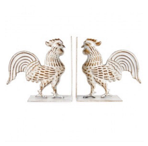 Rooster Book Ends White French Provincial - The Renmy Store