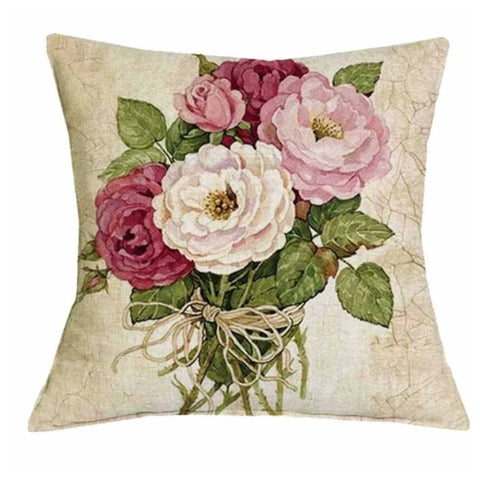 Cushion Pillow Vintage Pink Rose Flowers - The Renmy Store