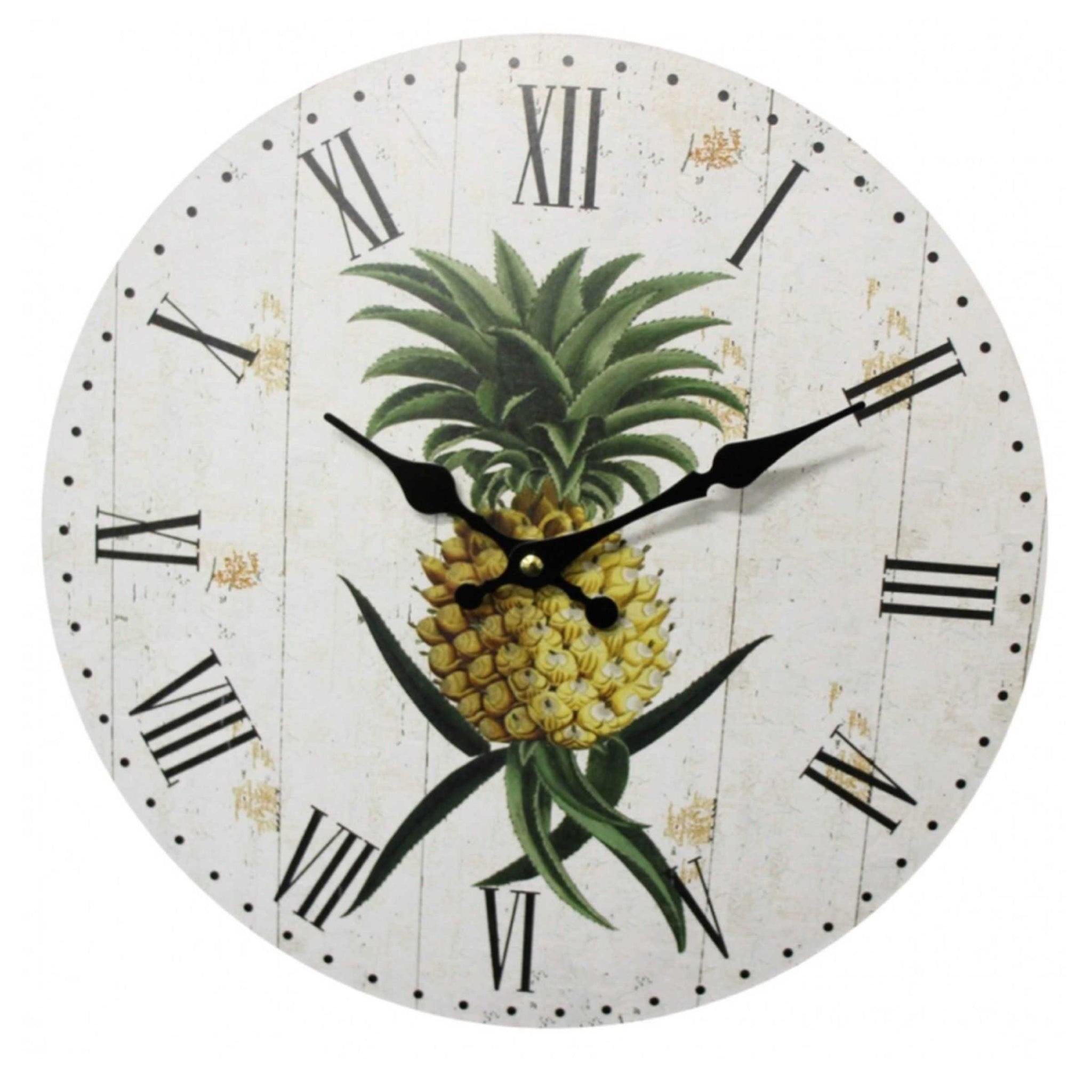 Clock Wall Rustic Timber Look Boards with Pineapple - The Renmy Store