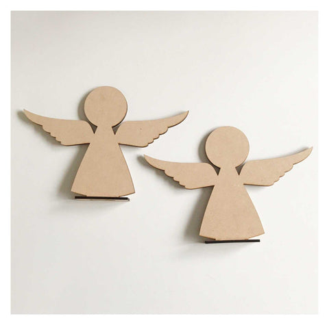 Angel x2 Standing Raw MDF Wooden DIY Craft - The Renmy Store