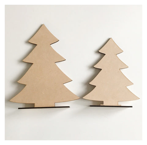 Tree Trees x2 Standing Raw MDF Wooden DIY Craft