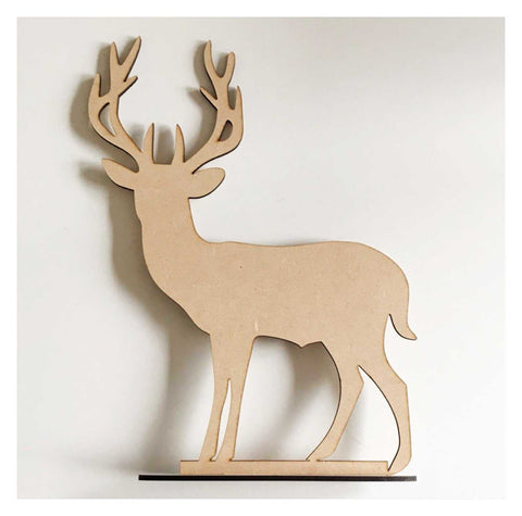 Deer Stag Reindeer Standing Raw MDF Wooden DIY Craft - The Renmy Store