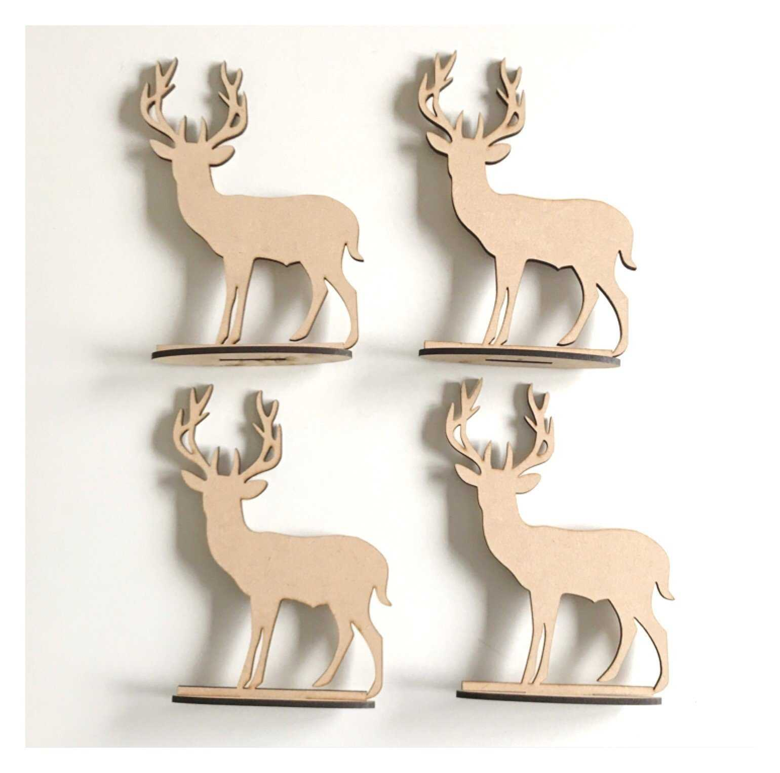 Deer Stag Reindeer x4 Standing Raw MDF Wooden DIY Craft - The Renmy Store