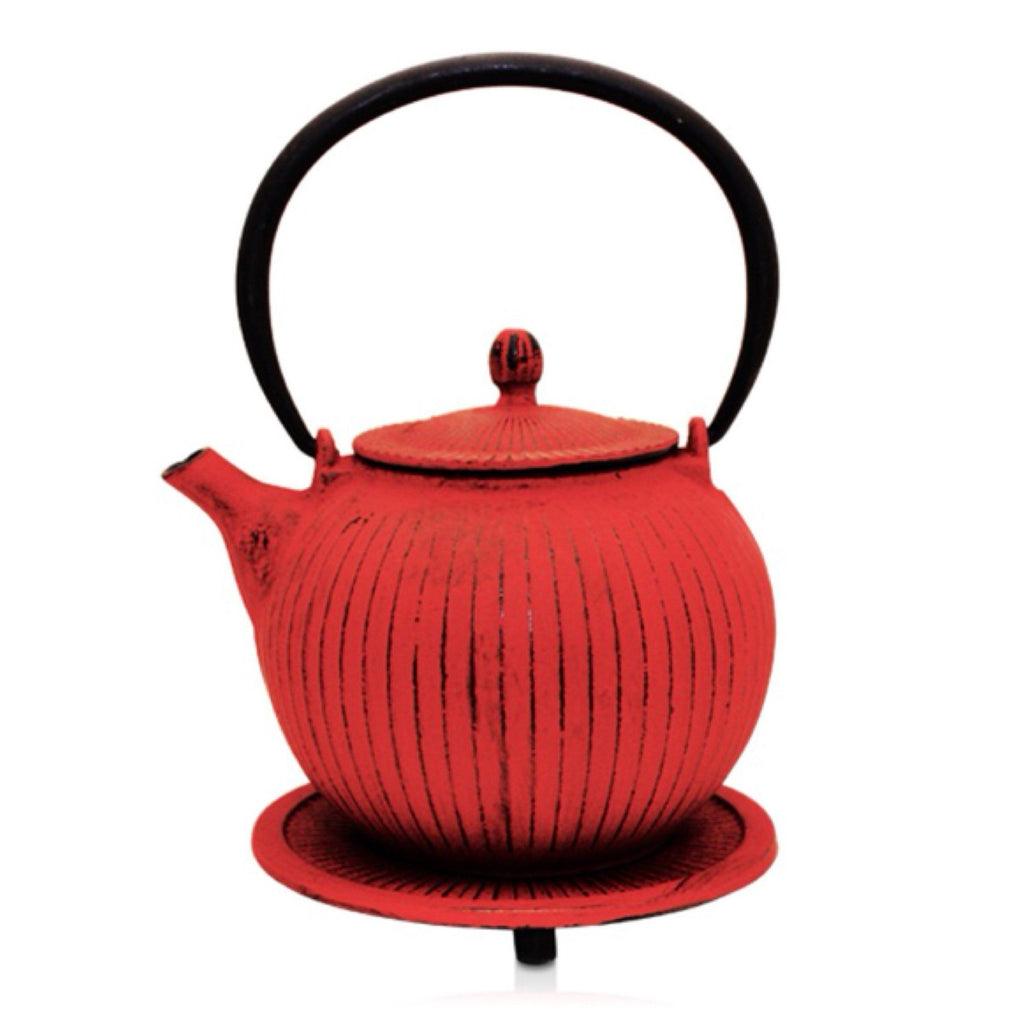 Cast Iron Red Teapot 800ml Antique - Tea - Japanese - Chinese - Vintage - The Renmy Store