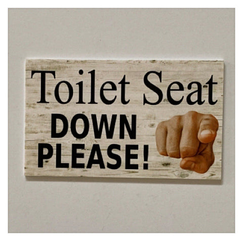 Toilet Seat Down Please for Boys Sign