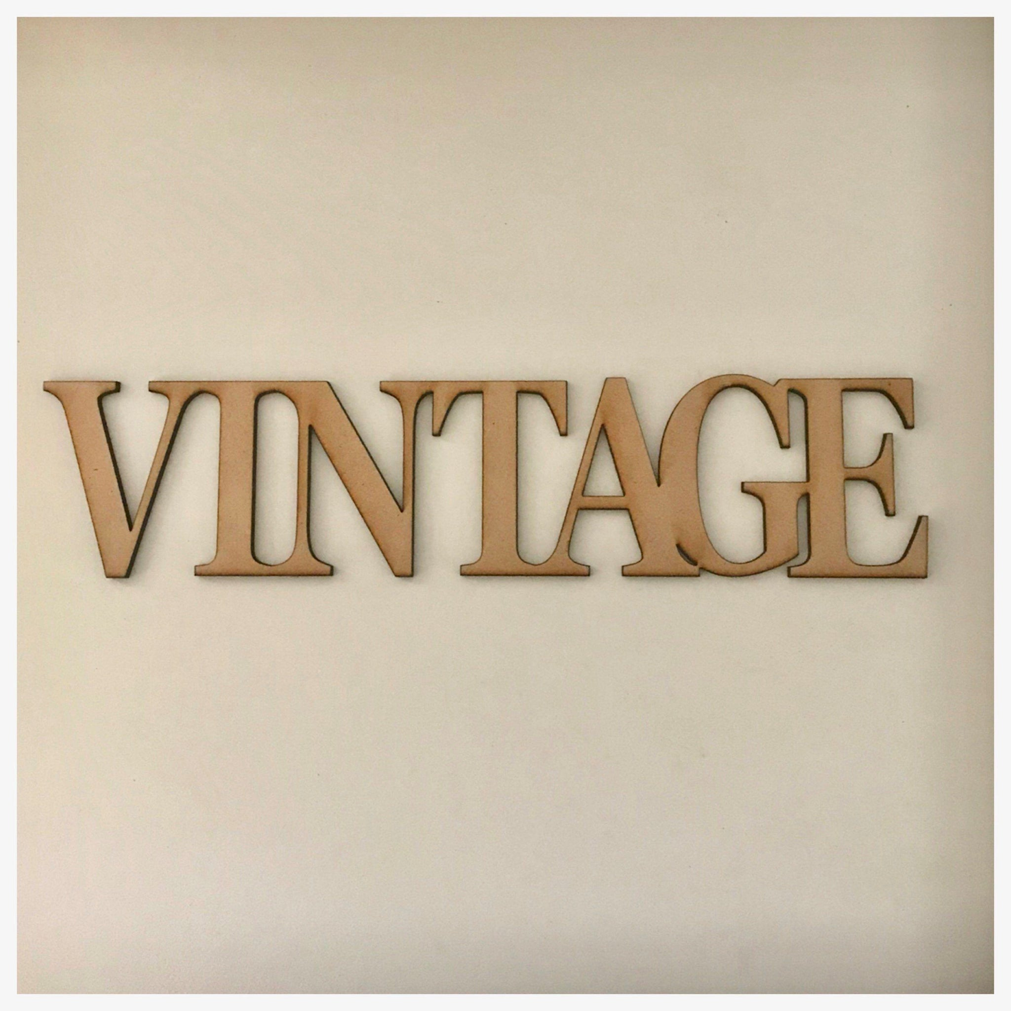 Vintage MDF Shape Word Raw Wooden Wall Art