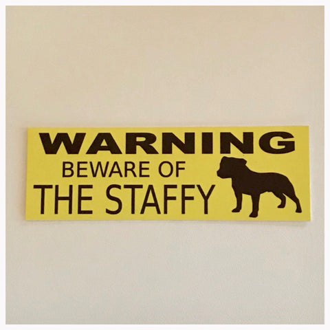 Staffy Dog Warning Beware Of The Sign Hanging or Plaque Pet - The Renmy Store