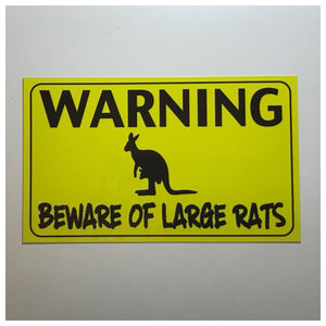 Warning Beware Of Large Rats Kangaroo Sign Wall Plaque or Hanging - The Renmy Store