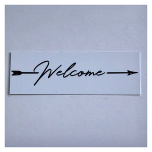 Welcome White with Arrow Sign Wall Plaque or Hanging - The Renmy Store