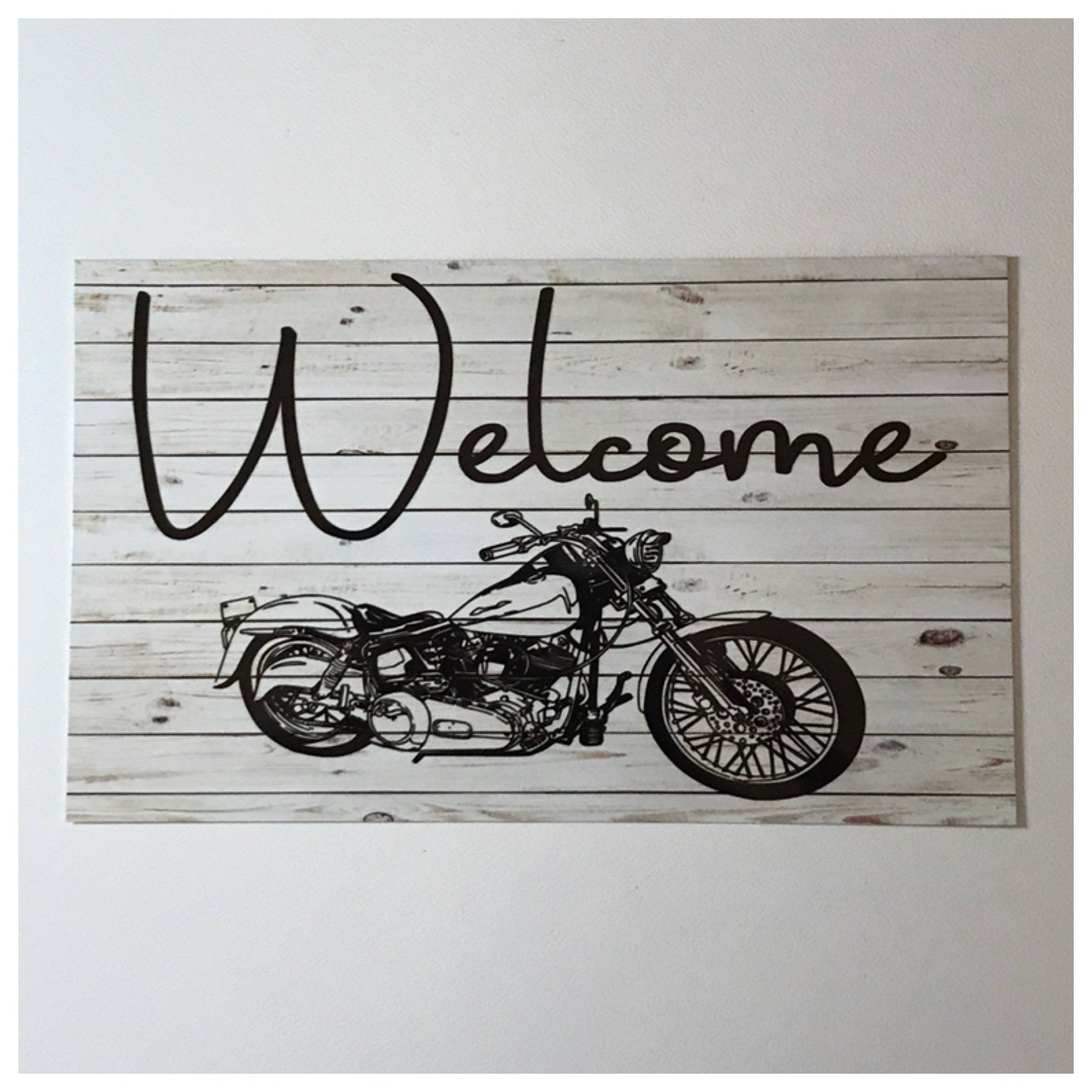 Welcome Motorbike Sign Wall Plaque or Hanging - The Renmy Store