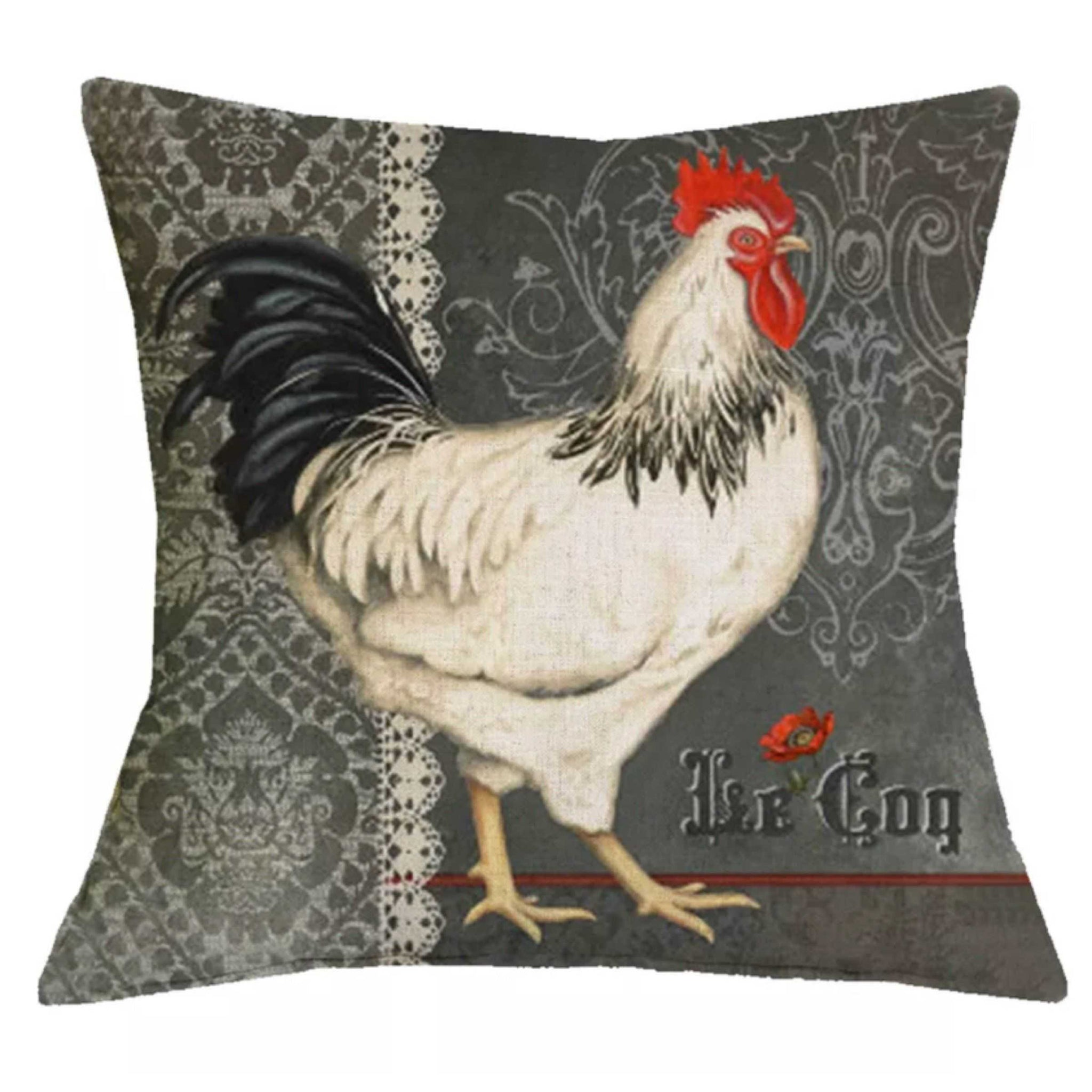 Cushion Pillow White French Le Cog Rooster Cushions, Decorative Pillows The Renmy Store