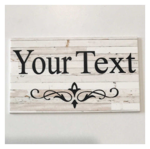 Custom Wording Your Text White Wash Wood Scroll Sign