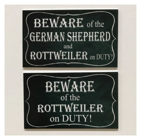 Beware Of Your Dog Breed On Duty Personalised Custom Sign