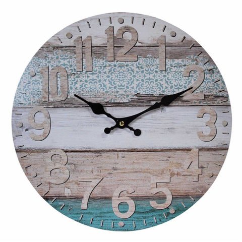 Clock Wall Pretty Aqua Rustic Timber 34cm - The Renmy Store
