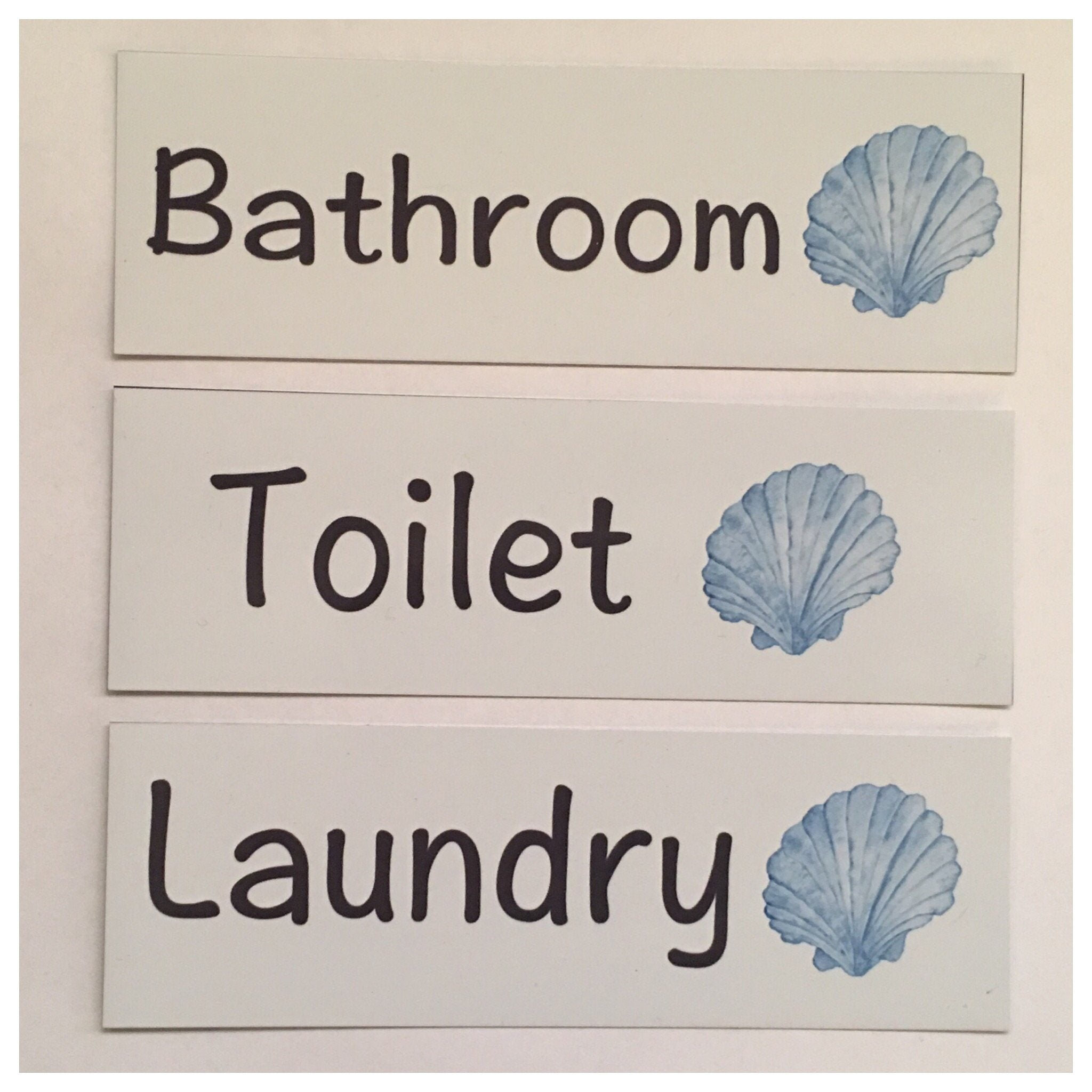 Shell Beach Blue Door Room Sign Toilet Laundry Bathroom - The Renmy Store
