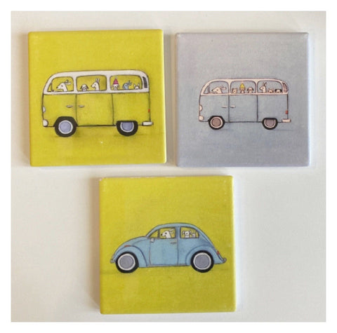 Kombie Dogs VW Van Beetle Coasters Coaster Set of 3
