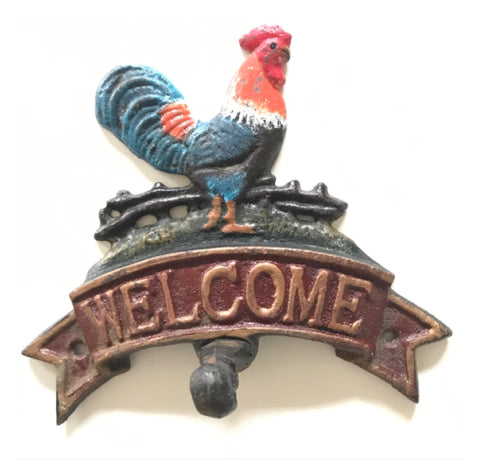 Welcome Rooster Antique Hook