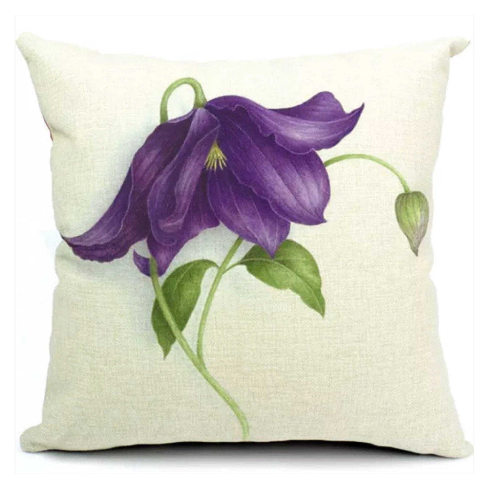 Cushion Pillow Purple Vintage Flower - The Renmy Store