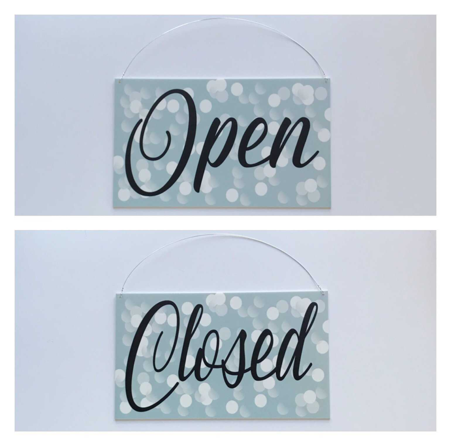 Open Closed Business Shop Cafe Hanging Sign Sparkle