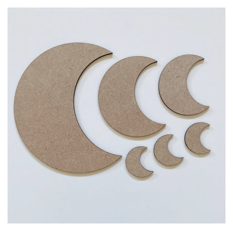 Moon Crescent Set MDF Shape DIY Raw Cut Out Art Craft Decor