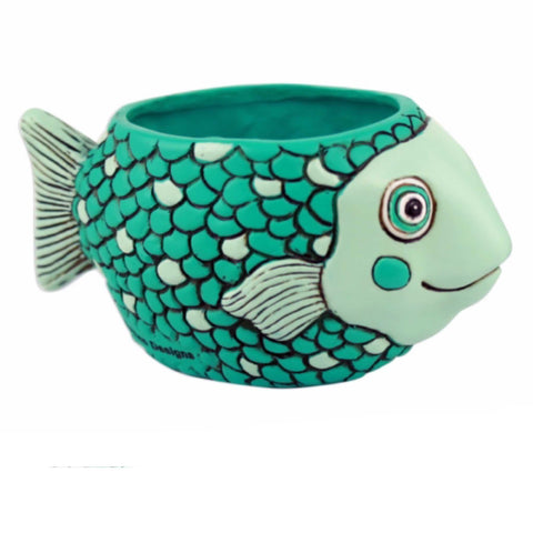 Fish Teal Funky Pot Plant | The Renmy Store