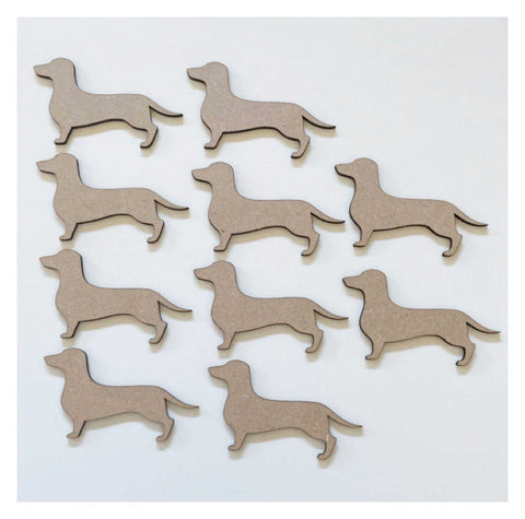 Dachshund Dog x 10 MDF DIY Raw Cut Out Art Craft Decor