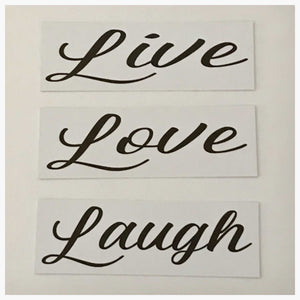 Live Love Laugh Set of 3 White Sign Wall Plaque or Hanging Plaques & Signs The Renmy Store