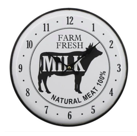 Clock Cow Iron Farm Fresh Milk
