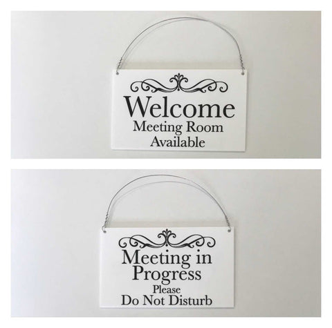 Meeting in Progress & Room Available Hanging Black Sign | The Renmy Store