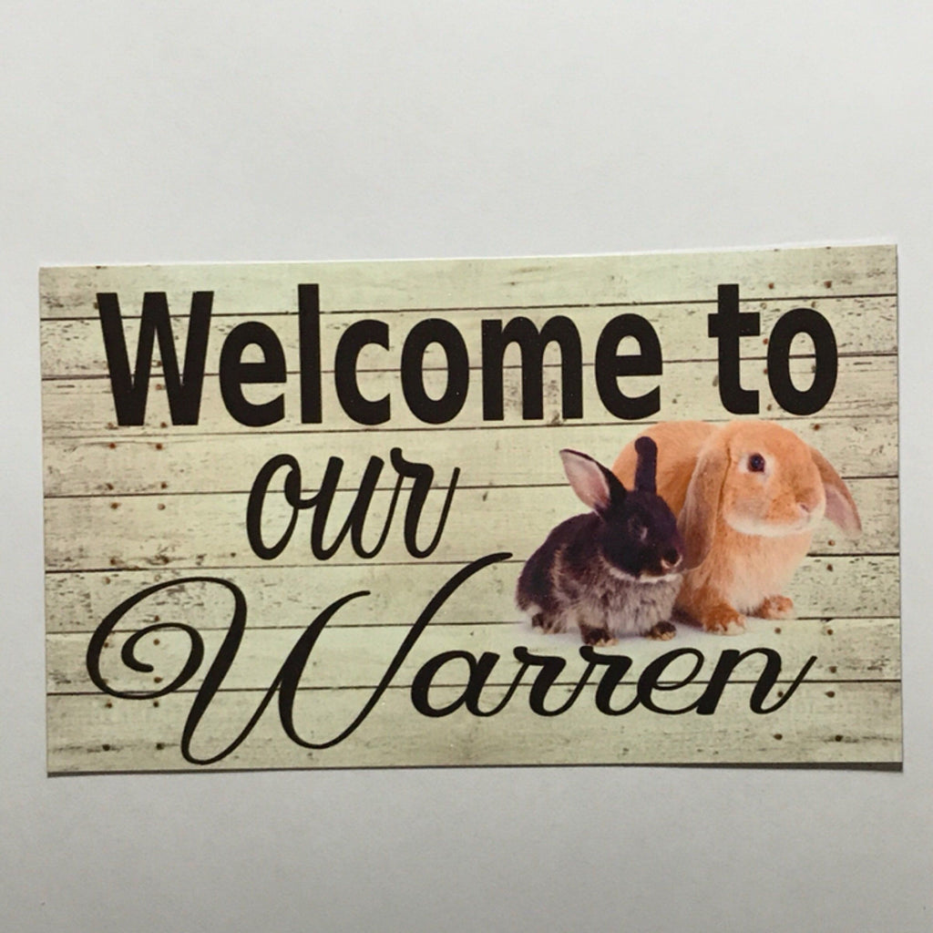 Welcome Our Warren Rabbit Sign Wall Plaque or Hanging - The Renmy Store