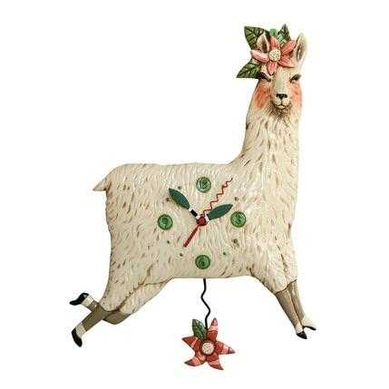 Clock Wall Llama Love Funky Retro