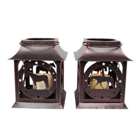 Candle Lantern Farmhouse Horse Set of 2
