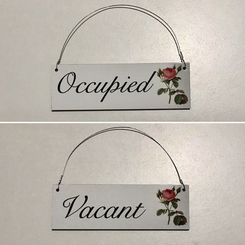 Vacant & Occupied Vintage Rose Sign Toilet Busy Bathroom Vintage Hanging Sign - The Renmy Store