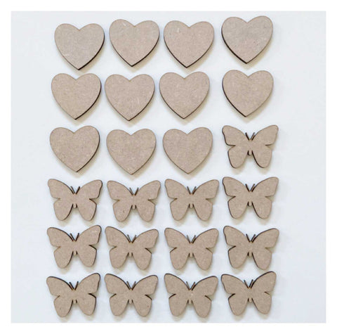 Butterfly & Heart Set of 24 MDF Timber DIY Raw Craft | The Renmy Store