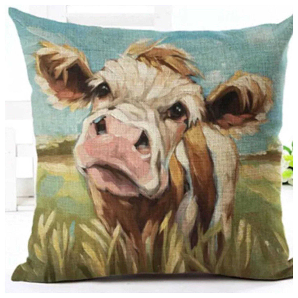 Cushion Pillow Cow Brown & White Farmhouse - The Renmy Store
